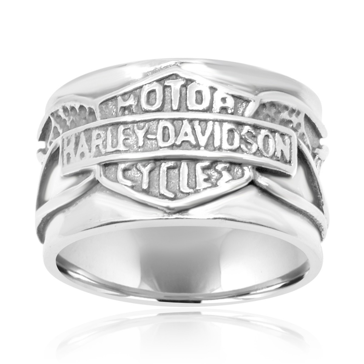 It is a graphic of Sterling Silver Harley- Davidson Ring