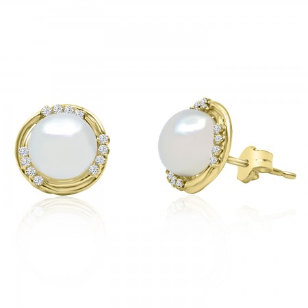 Yellow Gold Pearl Stud...