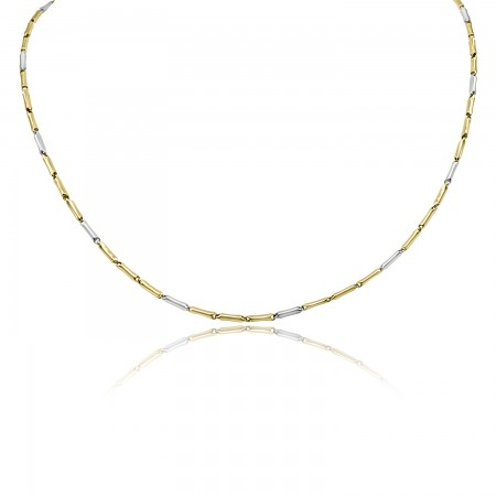 18k Two Tone Gold Tube Link...