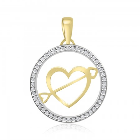 18k Two Tone Gold Heart...