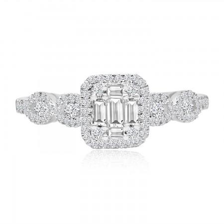 Anillo Cluster de Diamantes...