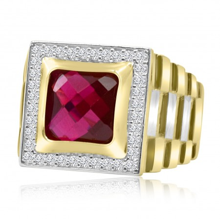 Ruby Signet Ring in 18k Two...