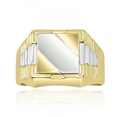 18K Two Tone Gold Signet Ring.