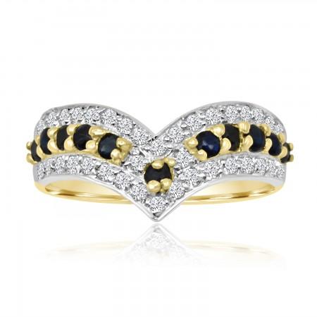 Sapphire Wishbone Ring in...